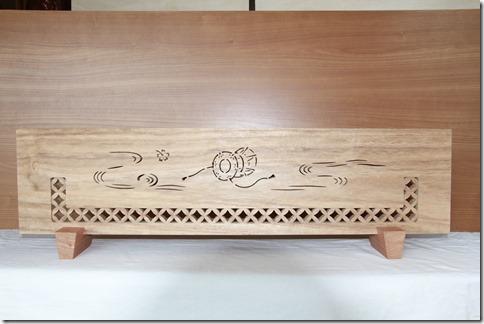 木彫刻 結界 七宝に太鼓