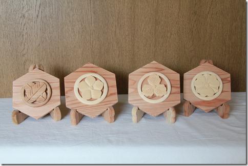木彫刻 置物 家紋 9000円~